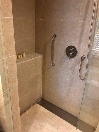 Shower in standard double room