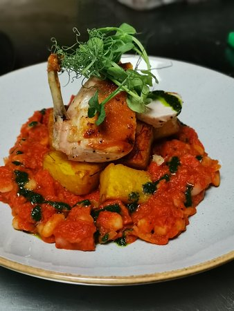 Chicken Supreme (GF)  Oven Roasted Chicken Supreme, Tomato, Chorizo & White Bean Cassoulet, Saffron Roasted Potatoes