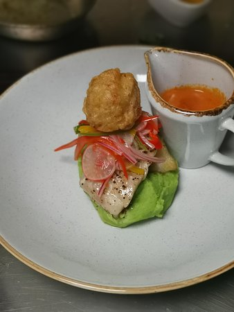 Red Mullet  Pan Seared Fillet of Red Mullet, Seafood Bisque, Spinach & garlic Mashed Potatoes, Crab & Chilli Beignet