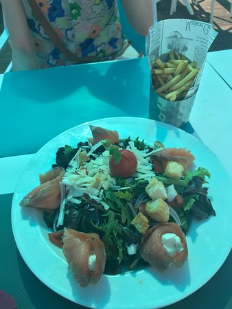 Salmon and cream cheese salad and fries.