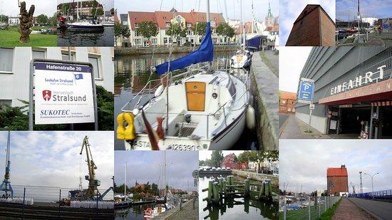 Stralsund, ألمانيا: Collage: See-Hafen-Gebiet von Stralsund.