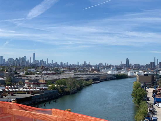 At the middle of the bridge - View of Downtown + part of Midtown skyline...Freedom tower in left side cluster of buildings.