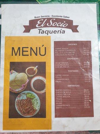 El Socio Taqueria menu 1/2