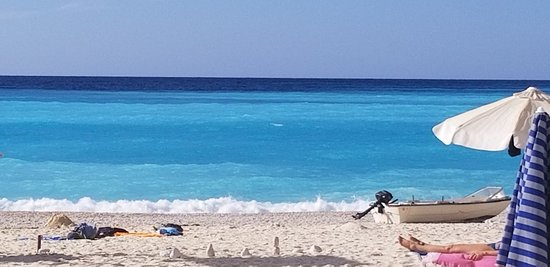 Myrtos Beach with its layers of blue hues.