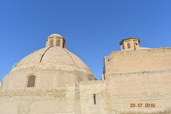 view of bathhouse domes with screened windows