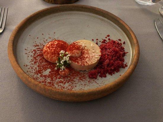 Foie gras with raspberry hibiscus foam