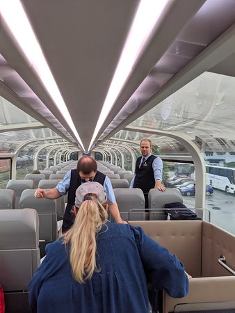 Taken as people started boarding the train.  The train is much more spacious than you might imagine.  Our upper-floor hosts, Jon and Adam, were always accommodating, professional, and fun to travel with!