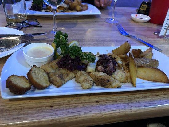 I had the hake and calamari combo: very tasty and well presented.