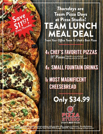 Thursday's are Team Lunch days at Pizza Studio. Bring the team and save $! 4 Pizzas, 4 fountain drinks and our Most Magnificent Cheese Bread, all for just $34.99!