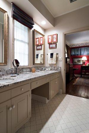 Blue Room Bathroom - vanity shown. Tub shower combination on opposite wall.