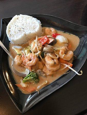 shrimps in peanut sauce