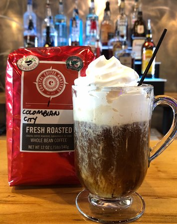 Irish coffee made with locally roasted coffee