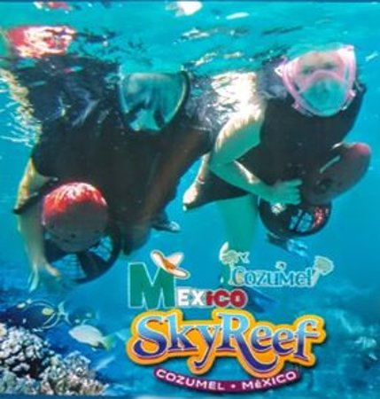 """Cozumel Power Snorkel & Island ride: *Yes, I was happy to pay a tad bit more for the photo of us """"in action."""" [We had taken our own 'full face' snorkel masks.]"""