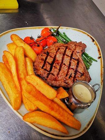 Steak night rump with peppercorn sauce