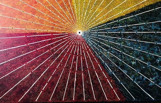 cuadro del artista cusqueño Migue Araoz que muestra el sistema de seqes. Estos son líneas imaginarias que conectarían los diferentes lugares sagrados del imperio inca partiendo del Coricancha y que podrían estar vinculados a su calendario.