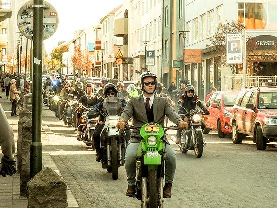 Reykjavik Food Walk: Motorcycle riders (in suits) we encountered during our walk.
