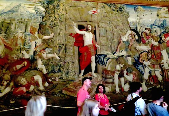 The Resurrection of Christ' tapestry woven in Brussels by Peter van Aelst's School, in the 1500's, finley woven, by the best weavers of the day, from wool and silk, and gold and silver thread.