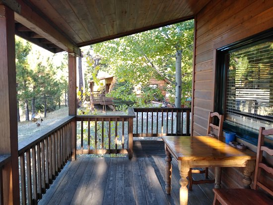 Clio, CA: Cabin porch.