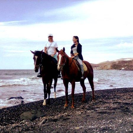 Santorini:Traditional wine village Horse riding tour: On Eros Beach