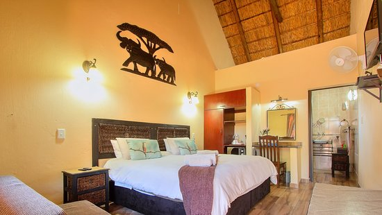 Kempton Park, Jihoafrická republika: The tastefully decorated thatch roof luxury Buffalo room with a king size bed. Free wifi and various TV channels. Comes with a small fridge and micro wave. Coffee, tea and hot chocolate is available, It has an en-suite bathroom. A sleeper couch is also available. Stands alone away from the main guest house.