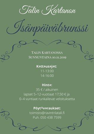 Talin Kartanon isänpäiväbrunssi su 10.11.2019. Varaa paikkasi!