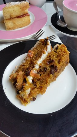 Beatons Tearooms - Crowthorne: Carrot cake - and jam-only Victoria Sandwich.