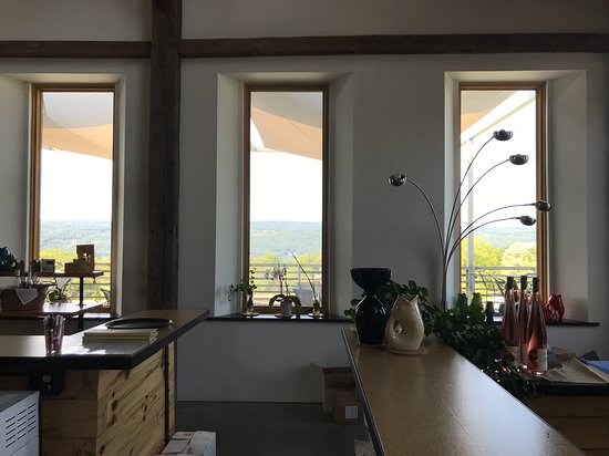 Looking out windows behind tasting bar.