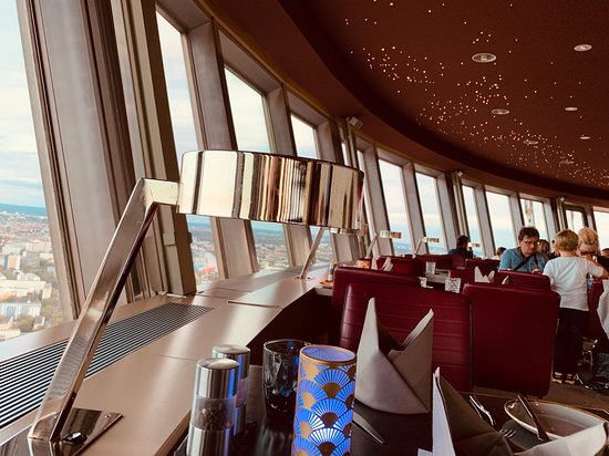 Skip the Line: Dinner Atop the Berlin TV Tower: In the restaurant... about to have an early dinner.