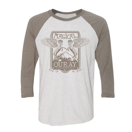 Magical Ouray with flying bighorn sheep.  Our own art on locally printed tees.