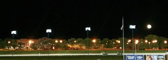 Hotel and full moon from the Racetrack (not that great)