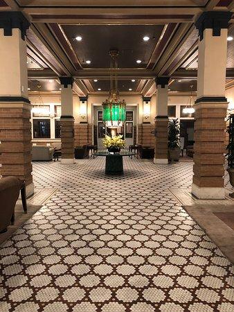 View as you look toward lobby entry revolving doors