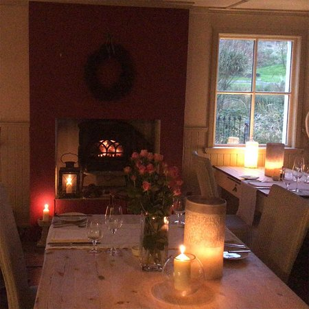 Our cosy dining room in front of the fire. Dinner is served