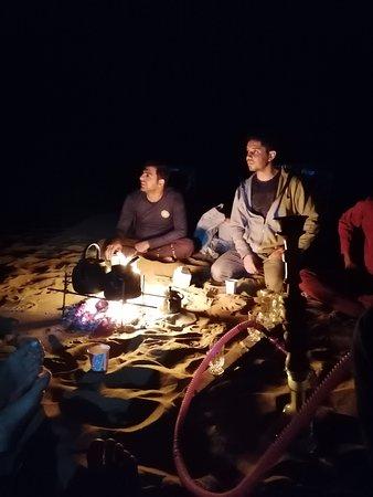 Campfire , shisha (iranian Hoka ) and tea . What a beautiful night