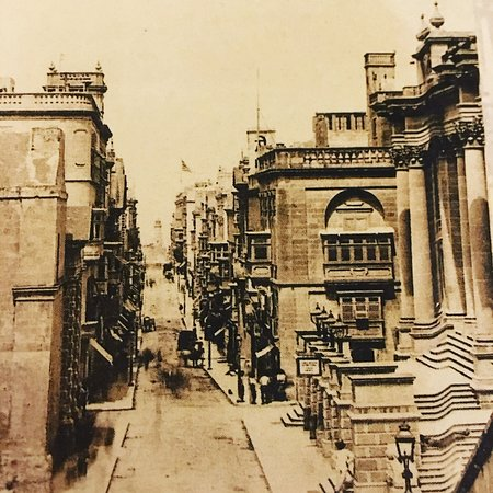 Sepia photo of Valletta before the Opera house was bombed - hotel terrace ahead on the R