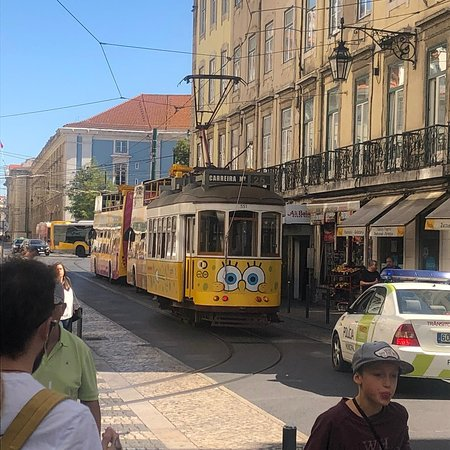 Lisbon, Portugal: Yellow eletric bus
