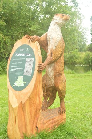 A chainsaw carved otter marking the nature trail through the Park