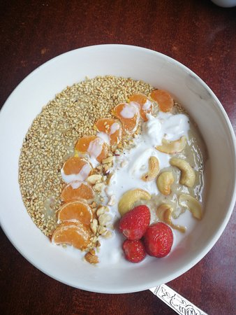 Topped with fresh fruits and nuts