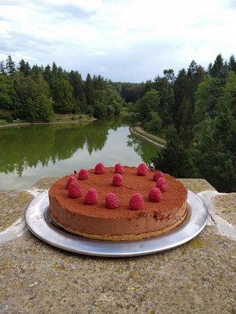 Yummy raspberry chocolate cheesecake :)