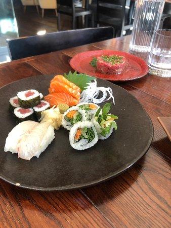 Sushi & Sashimi with Wagyu Beef Tartare (behind).