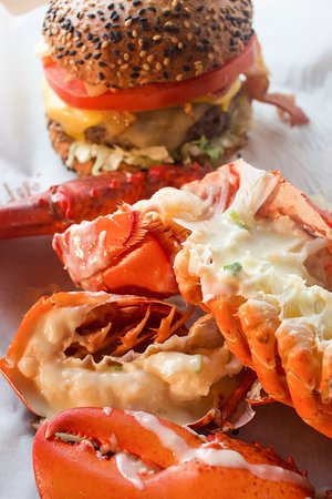 Combo for 1: A 6 oz. burger and a whole 1lb. lobster with fries and salad