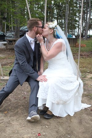 we did part of our wedding photo shoot at the campground. and decided the swings that they have at their little park would be a great place to take one.