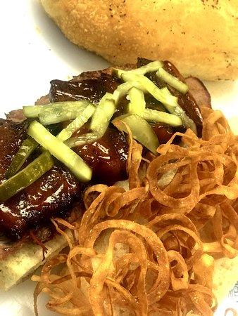 BBQ Pork and Beef Sandwich on fresh BIG bread.