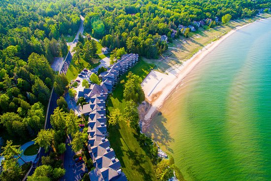 Glidden Lodge Resort, Beach, and Lake Michigan from Above