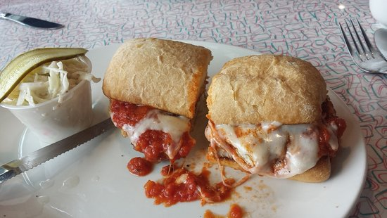 Chicken Parmesan on a crusty bun. Comes with Coleslaw. It's a good size sandwich and very filling. The chicken was tender and juicy.