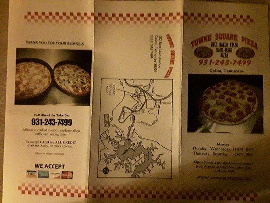 Towner Square Pizza Menu