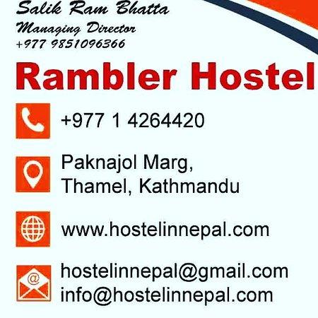 This is a business Card of Rambler hostel. One of the certified tourist hostel in Kathmandu, Nepal. remember us for.... #dorms #dormroom #hostelworld #hostelsclub #traveler #homedecor #dormdecor #dormlife #backpacker #dormitory #kathmandu #sunrise #sunsetviewpoint #hosteldorm #rooftopthamel #bunkbeds #backpackerstory #dormbeds #volunteersneeded #touristsinnepal #newhostel #tourists #sturmfreifamily #staydifferent #hostelinnepal #thamelhostel #travellerhub  @agoda @hostelworld @bookingcom