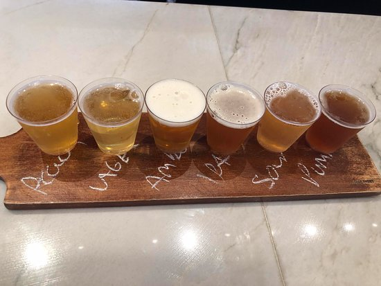 Our beer sample tray.  We will definitely be going back.