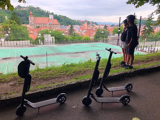 Checking out Brasov old town from the Tampa Promenade during escooter Tour.