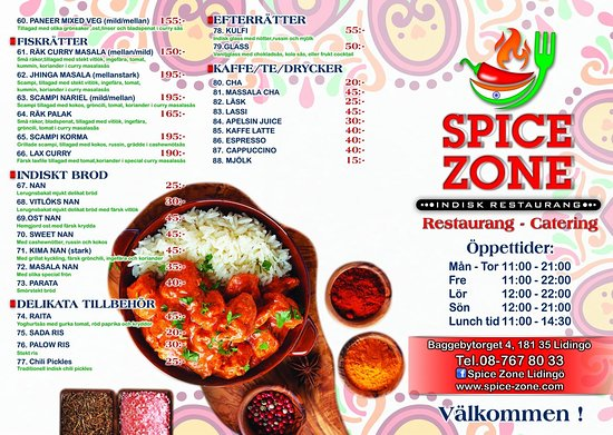 Sample Menu Card With Time Table Picture Of Spice Zone
