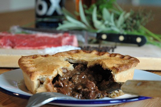 Meaty Steak pie - one of the Free Range Pies available here.